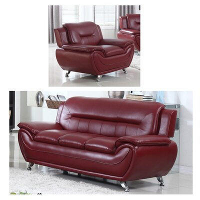 Lester 2 Piece Living Room Set Upholstery: Wine Red