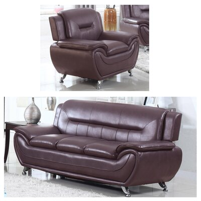 Bergenfield Sofa and Chair Set Upholstery: Dark Brown