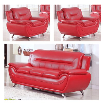 Lester 3 Piece Living Room Set Upholstery: Red