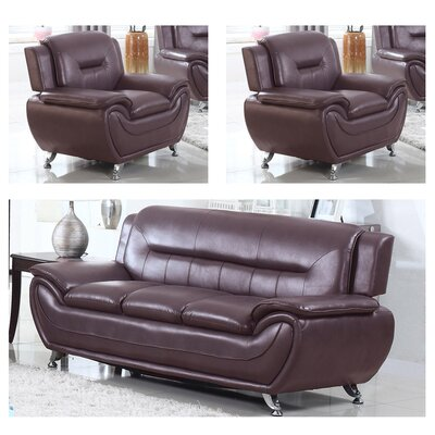 Lester 3 Piece Living Room Set Upholstery: Dark Brown