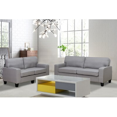 Bittle Modern 2 Piece Living Room Sofa and Loveseat Set Upholstery: Gray