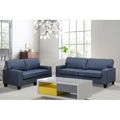 Varick Gallery VRKG3665 Bittle Modern 2 Piece Living Room Sofa and Loveseat Set Upholstery