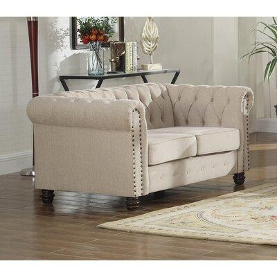 Sharniece Modern Loveseat Upholstery: Beige