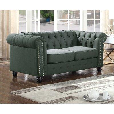 Sharniece Modern Loveseat Upholstery: Olive