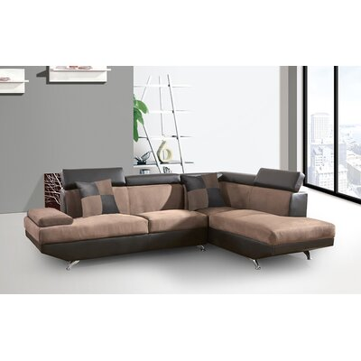 Whitney Sectional Orientation: Right Facing, Upholstery: Brown Chocolate