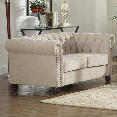 Altman Fabric Modern Living Room Loveseat Upholstery: Beige