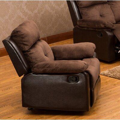 Tanna Manual Rocker Recliner Upholstery: Dark Brown