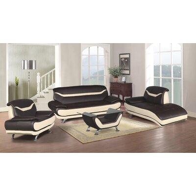 Hamon 4 Piece Living Room Set Upholstery: Brown/Beige