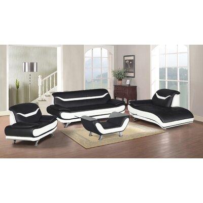 Hamon 4 Piece Living Room Set Upholstery: Black/White