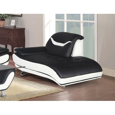Hamon Chaise Lounge Upholstery: Black/White