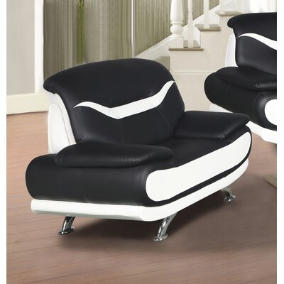 Hamon Armchair Upholstery: Black/White