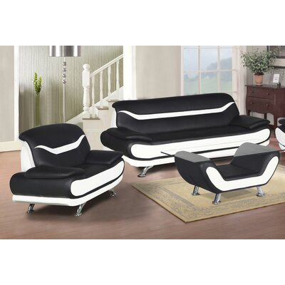 Hamon 3 Piece Living Room Set Upholstery: Black/White