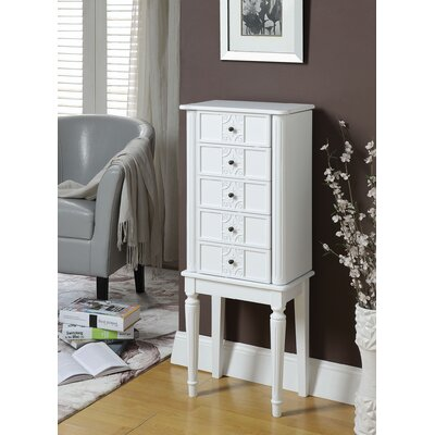 Tammy Free standing Jewelry Armoire with Mirror Color: White