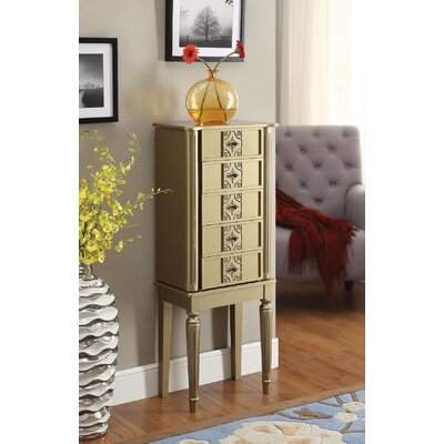 Tammy Free standing Jewelry Armoire with Mirror Color: Gold