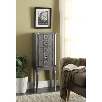 Tammy Free standing Jewelry Armoire with Mirror Finish: Silver