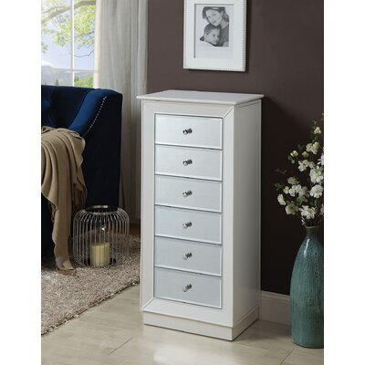Talor Free Standing Jewelry Armoire with Mirror Finish: White