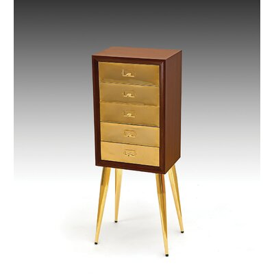 Gannon Free Standing Jewelry Armoire Finish: Gold