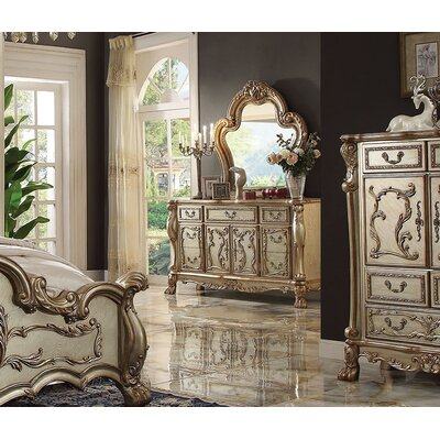 Perales 7 Drawer Combo Dresser with Mirror