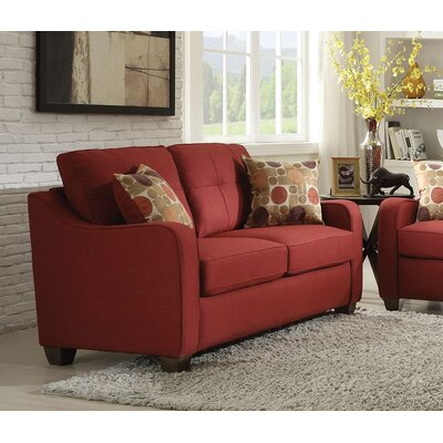 Beyer Loveseat Living Room Set Upholstery: Red