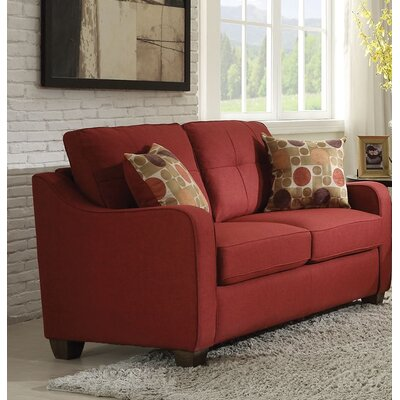 Beyer Loveseat Upholstery: Red
