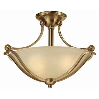 Bolla 2-Light Semi Flush Mount Finish: Brushed Bronze, Shade Color: Light Amber Seedy Glass, Bulb Type: MED