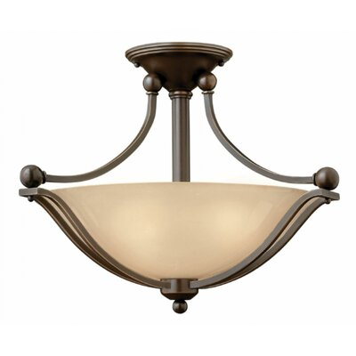 Bolla 2-Light Semi Flush Mount Finish: Brushed Nickel, Bulb Type: FSI, Shade Color: Light Amber Seedy Glass