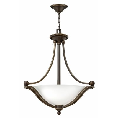 Bolla 3-Light Foyer Inverted Pendant Finish: Brushed Bronze, Shade Color: Light Amber Seedy Glass, Bulb Type: MED