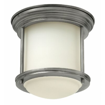 Hadley 1-Light Flush Mount Finish: Oil Rubbed Bronze, Bulb Type: Fluorescent, Shade Color: White