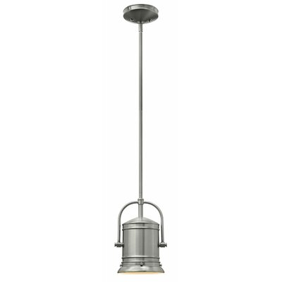 Warfield 1-Light Mini Pendant Finish: Brushed Nickel, Size: 11 H x 7.25 W x 7.25 D, Bulb Type: 26W GU24