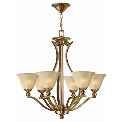 Bolla 6-Light Shaded Chandelier Finish: Brushed Bronze, Shade Color: Light Amber Seedy Glass