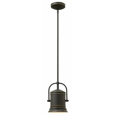 Warfield 1-Light Mini Pendant Finish: Oil Rubbed Bronze, Size: 11 H x 7.25 W x 7.25 D, Bulb Type: 26W GU24