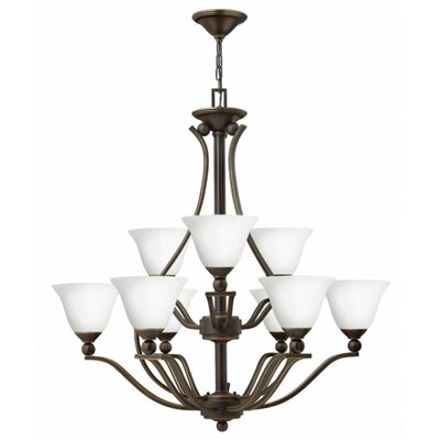 Bolla 9-Light Shaded Chandelier Finish: Olde Bronze, Shade Color: Etched Opal Glass