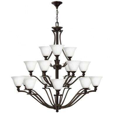 Bolla 18-Light Candle-Style Chandelier Finish: Olde Bronze, Shade Color: Etched Opal Glass