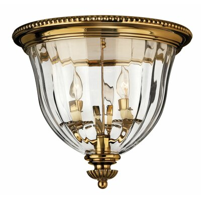 Dhavale 3-Light Flush Mount Finish: Burnished Brass