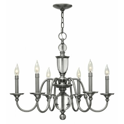 Eleanor 6-Light Candle-Style Chandelier Finish: Brass