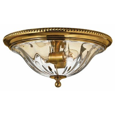 Dhavale 2-Light Flush Mount Finish: Burnished Brass