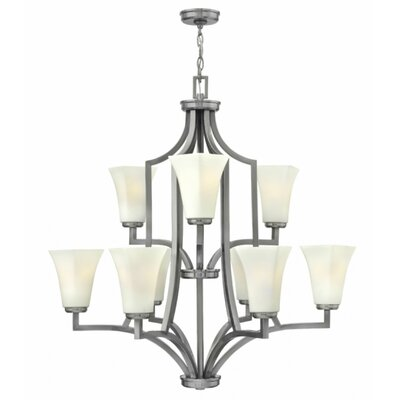 Spencer 9-Light Shaded Chandelier Finish: Brushed Nickel