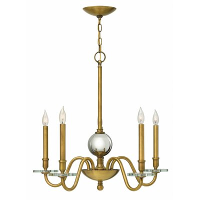 Everly 5-Light Candle-Style Chandelier Finish: Heritage Brass
