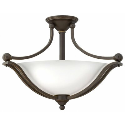 Bolla 3-Light Semi Flush Mount Foyer Finish: Olde Bronze, Shade Color: Etched Opal Glass, Bulb Type: LED