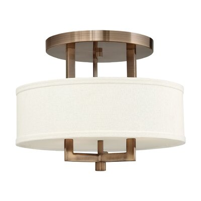 Hampton 3-Light Semi Flush Mount Finish: Brushed Bronze, Size: 11.75H x 15 W, Bulb Type: 13W GU24