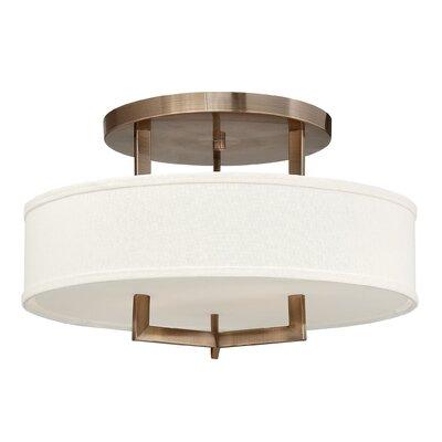 Hampton 3-Light Semi Flush Mount Bulb Type: FSI, Size: 12 H x 20 W