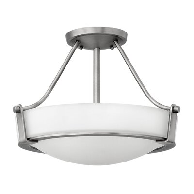 Hathaway 3-Light Semi Flush Mount Finish: Antique Nickel, Shade Color: White, Bulb Type: 26W GU24