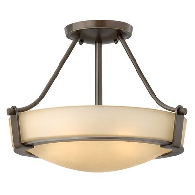 Raevon 3-Light Semi Flush Mount Finish: Olde Bronze, Shade Color: White, Bulb Type: 100W Medium