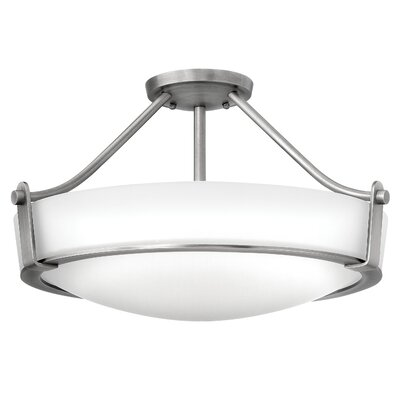 Raevon 4-Light Semi Flush Mount Finish: Antique Nickel, Shade Color: White, Bulb Type: 26W GU24