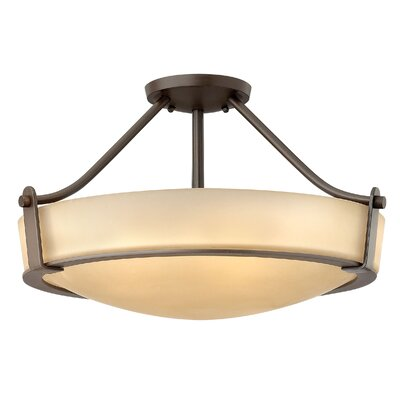 Hathaway 3-Light LED Semi Flush Mount Size: 12.3 H x 20.8 W, Finish: Olde Bronze, Bulb Type: FSI