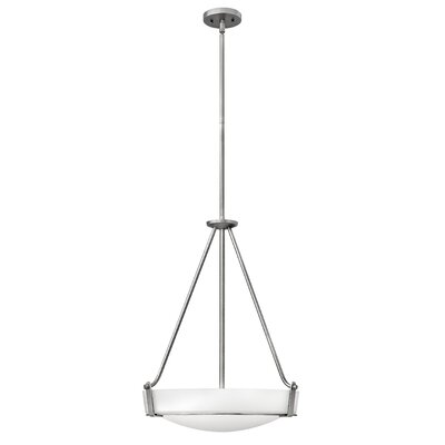 Hathaway 4-Light Inverted Pendant Shade Color: White, Bulb Type: 26W GU24, Finish: Olde Bronze