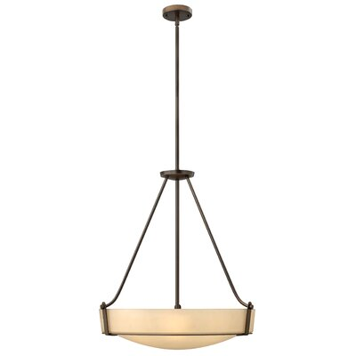 Hathaway 5-Light Inverted Pendant Bulb Type: 26W GU24, Finish: Olde Bronze, Shade Color: Amber