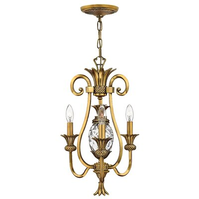 Plantation 3-Light Mini Chandelier Finish: Burnished Brass