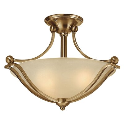 Bolla 2-Light Semi Flush Mount Finish: Brushed Nickel, Bulb Type: Incandescent, Shade Color: Light Amber Seedy Glass