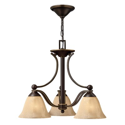 Bolla 3-Light Shaded Chandelier Finish: Olde Bronze, Shade Color: Light Amber Seedy Glass